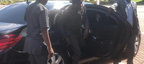 Former President Goodluck Jonathan arriving the Presidential Villa