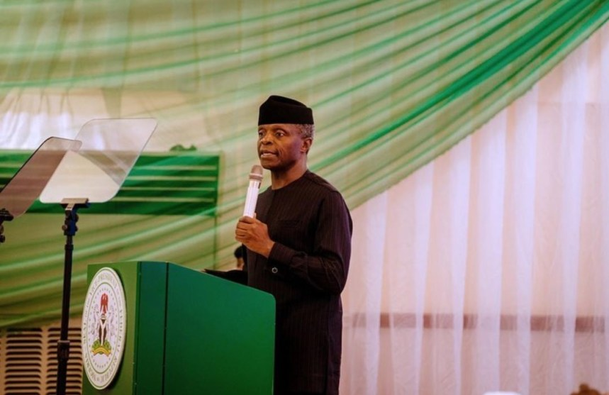 Yemi Osinbajo speaking at the 59th Independence Anniversary Lecture at the Island Club, Lagos[PHOTO CREDIT: profosinbajo IG]