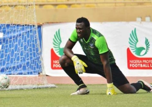 Enyimba goalkeeper Olufemi Kayode. PHOTO Credit: busybuddiesng.com