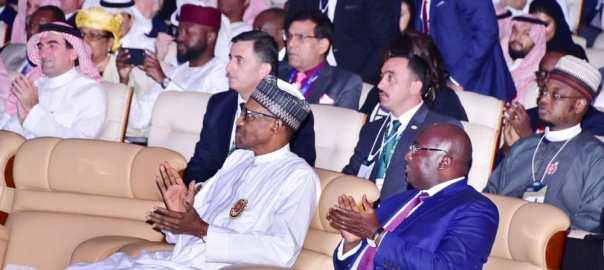 President Muhammadu Buhari at the Future Investment Initiative Conference taking place in the Kingdom of Saudi Arabia. [PHOTO CREDIT: @FMoCDE]