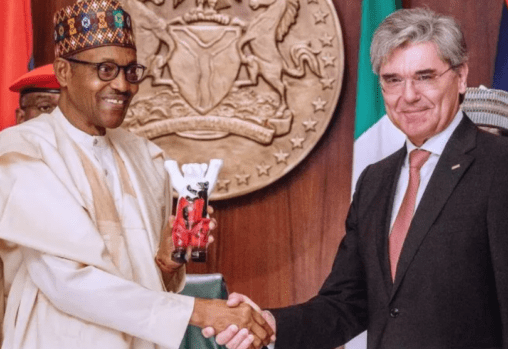 Picture: President Buhari and Siemens chief