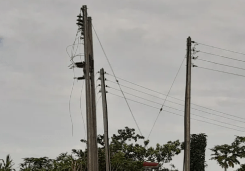 Picture: On the way to Gomani community, Abuja, cable connection stopped, cutting people from grid electricity