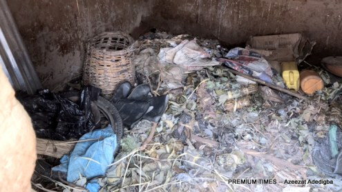 The room where the traditional doctor stores the leaves and barks for sick villagers