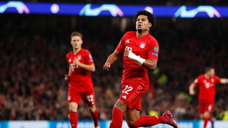 Serge Gnabry celebrates after scoring for Bayern (Reuters on Google)