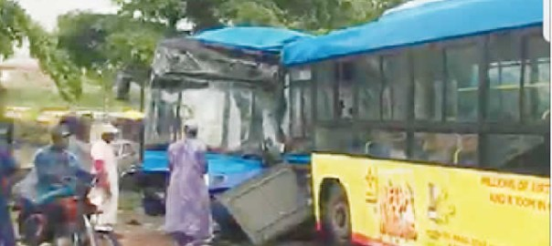 BRT buses involved in an accident