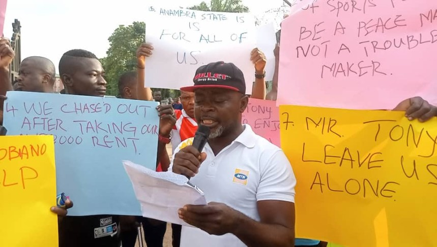 Members of Trinity Fitness Club, Onitsha protesting
