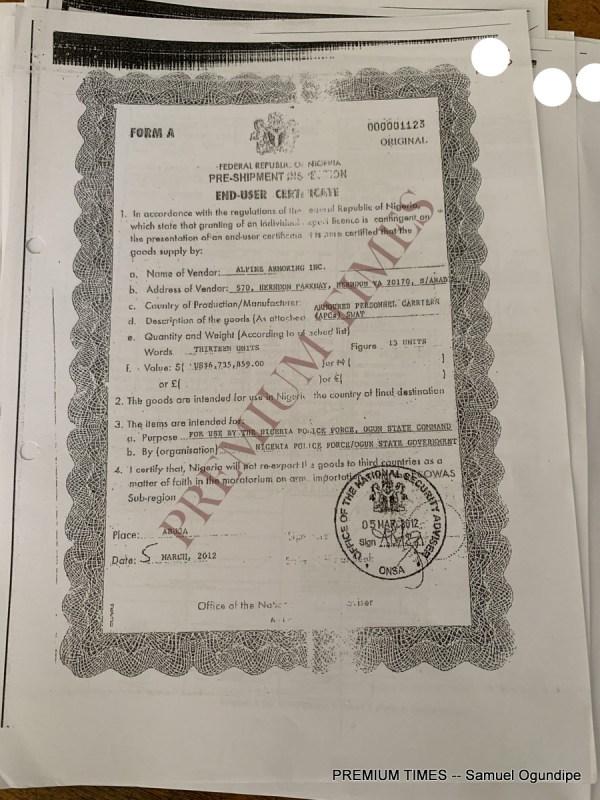 End-user certificate