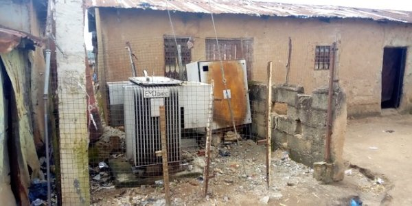 A failed transformer in Agwan Rogo, Plateau State under Jos DisCo