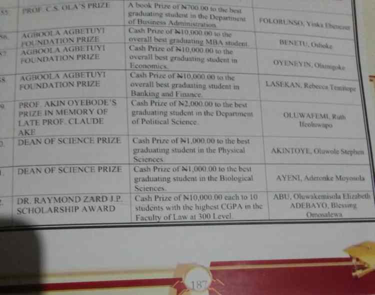 EKSU Convocation brochure containing prizes of award winners