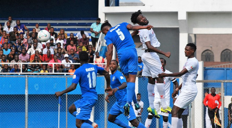 Ifeanyi Anaemena of Enyimba nods home his first goal against Rangers in Aba