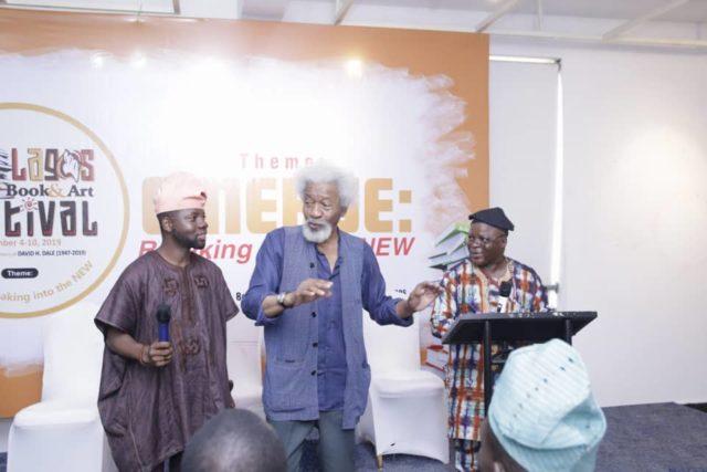 (L-R) Olutayo Irantiola, Wole Soyinka, Oladele Orimoogunje, at the Yoruba Lakotun Colloquium held during the Lagos Books and Arts Festival, Lagos overthe weekend