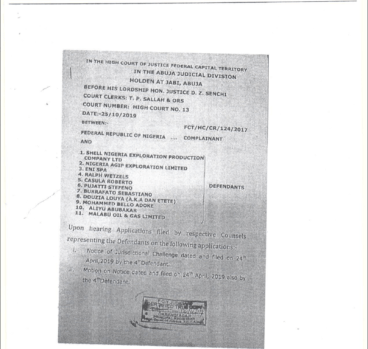 Page One of the order by Justice Zenchi invalidating the arrest warrant on Mr Adoke