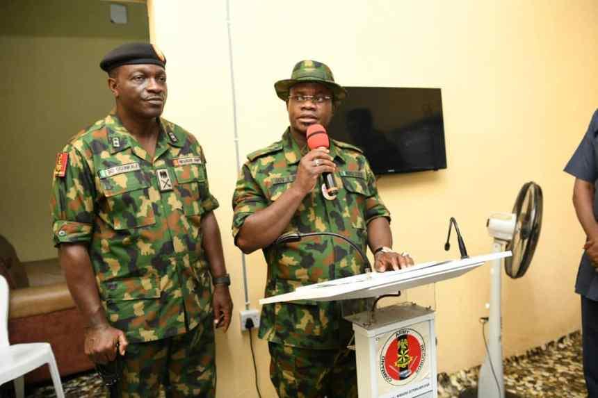 The Kogi State governor, Yahaya Bello flagging off the Field Training Exercise, tagged: ''EX AYEM AKPATUMA 11