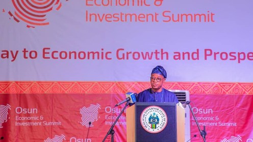 Gboyega Oyetola delivering his speech at the Osun economic summit. [Source: Osun defender]