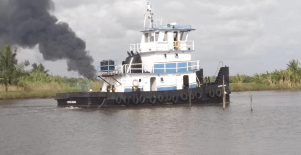 A security vessel securing the site of the fire explosion