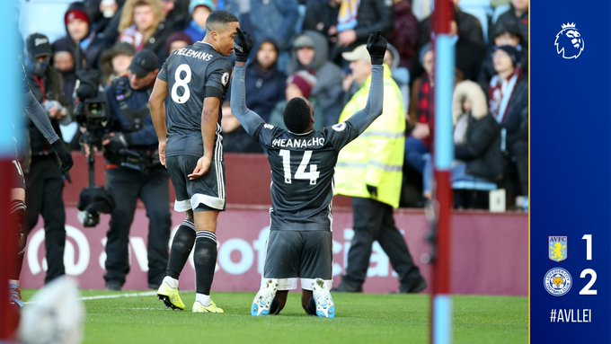 Iheanacho celebrates after scoring a goal for Leicester City