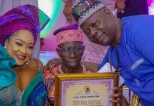 L-R Foluke Daramola, Pa Kasumu and Yinka Quadri at the launch 'Nolly veteran SOS Project 2019' in Lagos