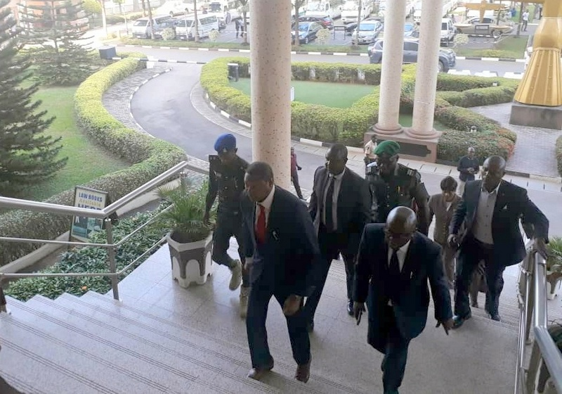 The Minister of Justice, Abubakar Malami, arrives Federal High Court in Abuja, currently in a meeting with the Chief Judge, John Tsoho.