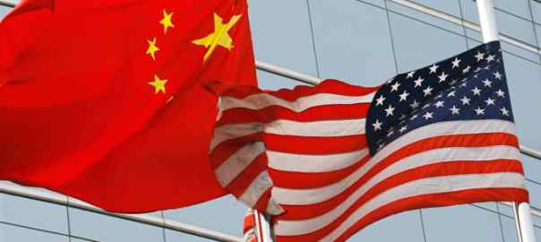 Flags of U.S and China