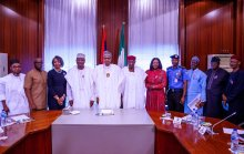 The leadership of INEC Nigeria, led by the Commission Chairman, Prof. Mahmud Yakubu today, briefed President Muhammadu Buhari on the 2019 elections. IG of Police and DSS Boss were in attendance.