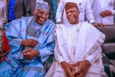 L-R Atiku Abubakar and Yemi Osibanjo at NUHU RIBADU'S sons' weddings in Adamawa [PHOTO: @DeleMomodu]