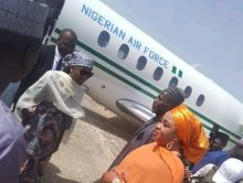 Hanan Buhari reportedly on a visit to Bauchi. Received by the wife of the governor. Flew Presidential jet