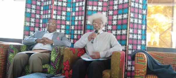 L-R: Solomon Amoseta; SAN and Prof Wole Soyinka while addressing the press on Amotekun in Lagos.