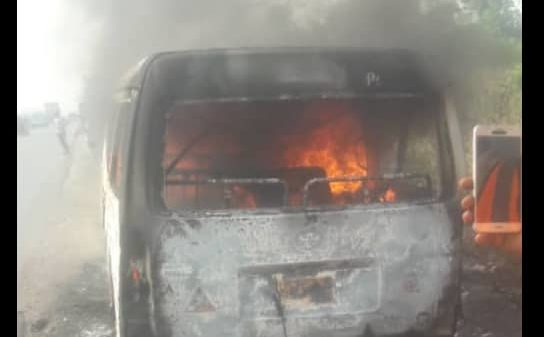 The vehicle in flames after the accident