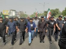 PDP leaders protest in Abuja over Supreme Court Judgement.