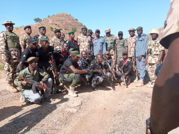 Chief of Army Staff, Lt.-Gen. Tukur Buratai, with Army and Police Personnel on Gwoza Hill