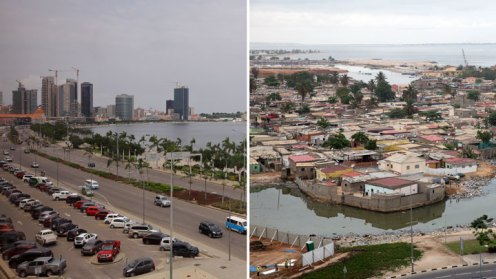 Luanda Bay, right, and a shantytown on the Atlantic shoreline in Luanda, Angola.