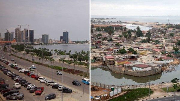 Luanda Bay, right, and a shantytown on the Atlantic shoreline in Luanda, Angola.