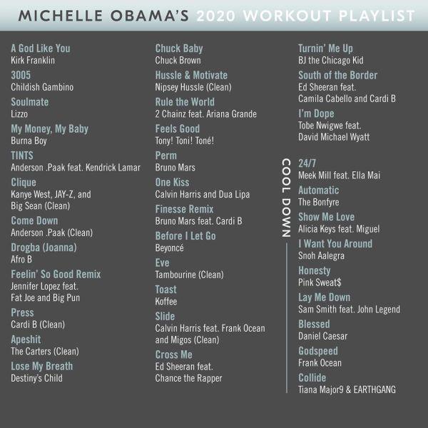 Michelle Obama's workout list