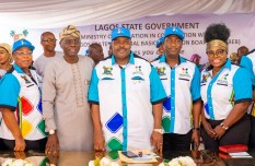 Commissioner for Education, Mrs. Folashade Adefisayo; Lagos State Governor, Mr. Babajide Sanwo-Olu; Executive Chairman, State Universal Basic Education Board (LSUBEB), Hon. Wahab Alawiye-King; Deputy Governor, Dr. Obafemi Hamzat and Board member, LSUBEB, Idowu Sijuade-Tiamiyu during the formal launch of the EKOEXCEL (Excellence in Child Education And Learning) at De Blue Roof, LTV, Agidingbi, Ikeja, on Saturday, January 25, 2020.