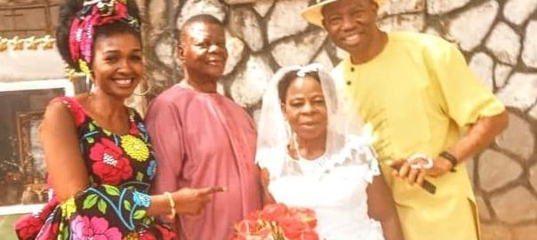 The couple flanked by Isaac and Nneka Moses