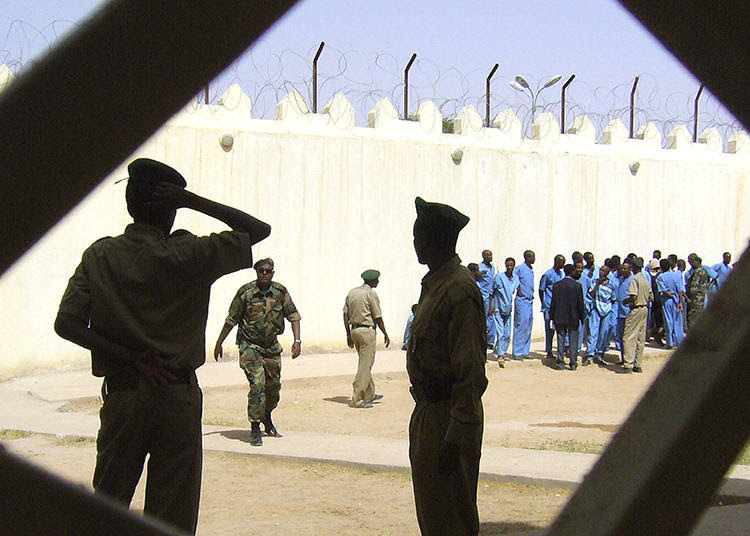 Prison warders stand guard in Somaliland's new maximum security prison, Hargeisa, Tuesday, March 29, 2011, refurbished with money provided by the U.N. Officials hope the facility may be able to start taking Somali pirates convicted in other countries. (AP Photo/ Katharine Houreld)