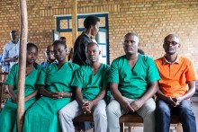 Four journalists of the Burundi's independent media Iwacu Press Group:(L to R) Agnes Ndirubusa, Christine Kamikazi, Terence Mpozenzi, Egide Harerimana and the driver Adolphe Masabarakiza appear at the High Court in Bubanza, western Burundi, on December 30, 2019 for complicity in endangering the internal security of the state. - The Burundian prosecution demanded 15 years in prison against four journalists and their driver arrested on October 22, 2019, while covering the incursion of Burundian rebels from the neighbouring Democratic Republic of Congo (DRC). (Photo by Tchandrou Nitanga / AFP)