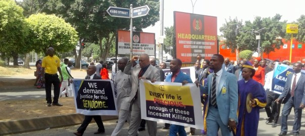 Members of the RCCG, TEAP Zone, marching through Garki during the prayer protest called for by CAN. Pic credit: Tosin Omoniyi