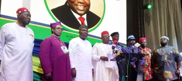 Host Governor Ifeanyi Ugwuanyi of Enugu State (3rd left), Governor David Umahi of Ebonyi State and Chairman of the South East Governors' Forum (4th left), Governor Willie Obiano of Anambra State (3rd right), Governor Okezie Ikpeazu of Abia State (right), the Deputy Governor of Imo State, Prof. Placid Njoku (2nd right), the Inspector General of Police, Mr. Mohammed Adamu Abubakar (4th right), President-General of Ohanaeze Ndigbo, Chief Nnia Nwodo (left) and Archbishop Emmanuel Chukwuma, during the South East Geo-Political Zone Security Summit, held in Enugu, yesterday.