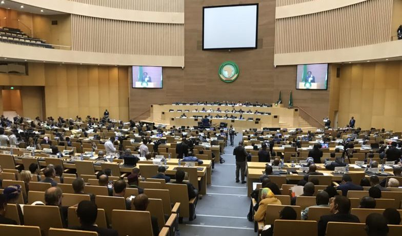 Members of the executive council gather at the Nelson Mandela Plenary Hall at the African Union Headquarters to conclude deliberations on the 2020 theme: Silencing the Guns: Creating Conducive Conditions For Africa's Development. February 6, 2020. Photo: Samuel Ogundipe — Premium Times. - Armed Conflict