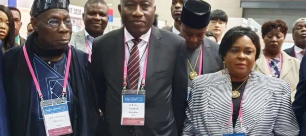 Former Presidents Olusegun Obasanjo and Goodluck Jonathan in South Korea