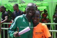 Running couple Emmanuel Gyang and his wife, Deborah Pam at the 2020 Access Bank Lagos City Marathon