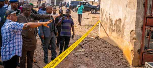 Gov. Fayemi at the site of the blast