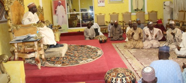The Emir of Bade, His Royal Highness Alhaji Abubakar Umar Suleiman receiving the State Team on the sensitisation against Lassa Fever led by the Hon. Commissioner of Information Home Affairs and Culture, Alhaji Abdullahi Bego