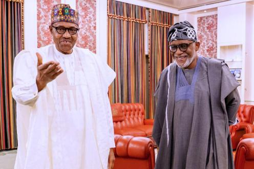 President Buhari meets with Ondo State Governor RotimiAkeredolu in State House