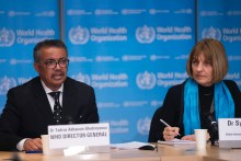 World Health Organisation Director-General, Tedros Ghebreyesus and Head of WHO's Global Infectious Hazard Preparedness division, Sylvie Briand, at the coronavirus press conference in Geneva