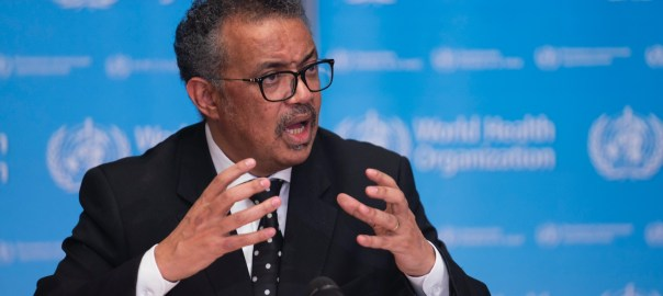 World Health Organisation Director-General, Tedros Ghebreyesus at the coronavirus press conference in Geneva