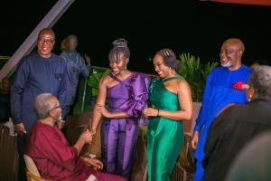 Chimamada introducing Lupita to Olu Jacobs (seated) with RMD looking on.JPG