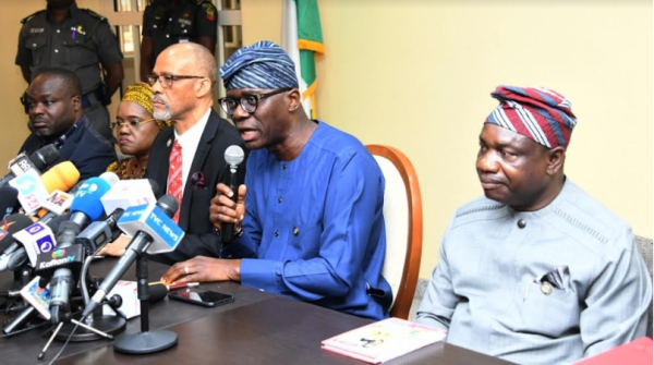 R-L: Lagos State Governor, Mr. Babajide Sanwo-Olu; Commissioner for Health, Prof Akin Abayomi; Secretary to the State Government, Mrs. Folasade Jaji and Permanent Secretary, Ministry of Health, Dr. Olusegun Ogboye, during a press briefing on the first case of Coronavirus in the State at Lagos House, Marina, on Friday, February 28, 2020.