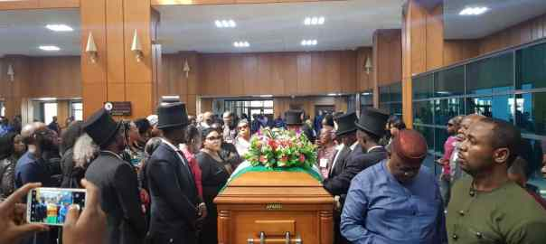 Late senator Ben Uwajumogwu's body at the Senate chamber
